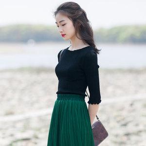 颜而 太好穿了吧 波浪边中袖棉<span class=H>T恤</span>女 竖条纹显瘦打底衫春夏新款