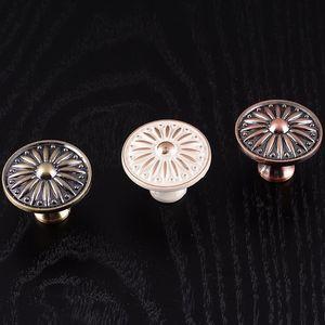 圆形欧式经典象牙白把手 橱柜家具拉手经典实心衣橱抽屉拉手