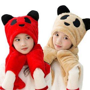 儿童围巾帽子<span class=H>手套</span>三件套装一体男女童毛绒围巾宝宝加绒护耳棉帽子