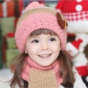 韩版<span class=H>秋</span><span class=H>冬款</span>2-3-4-5-6-7岁男女童 儿<span class=H>童帽</span>子围巾套装毛线保暖贝雷帽