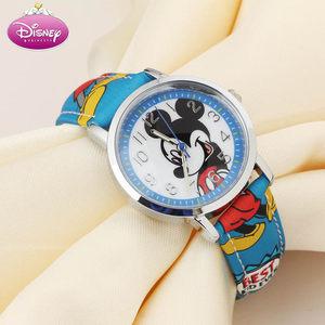 正品<span class=H>迪士尼</span>儿童手表 时尚女童 小孩子可爱米奇印花皮<span class=H>表带</span>男童手表