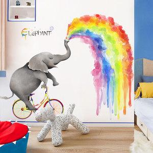 大型卡通儿童房卧室墙面装饰品<span class=H>墙贴</span>可爱大象动物贴纸创意彩虹贴画