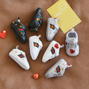 春秋婴儿单鞋魔术贴0-6-12个月男女宝宝学步鞋0-1岁软布底小白鞋