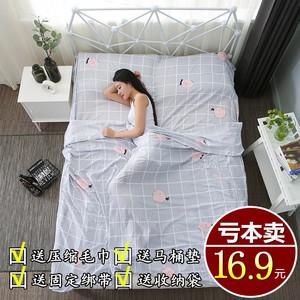 旅行酒店隔脏<span class=H>睡袋</span>成人室内宾馆双人被套便携式旅游防脏床单人纯棉
