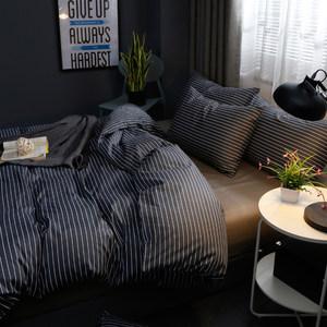 简约条纹格子纯棉四件套男全棉宿舍床笠被三件套床单双人床上用品