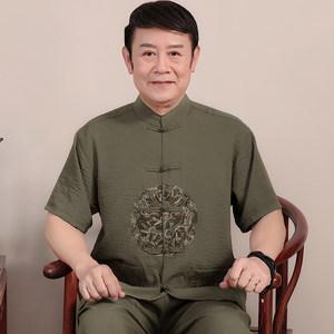 中老年人唐装男短袖夏季套装中式棉麻<span class=H>汉服</span>中国风大码爸爸装居士服