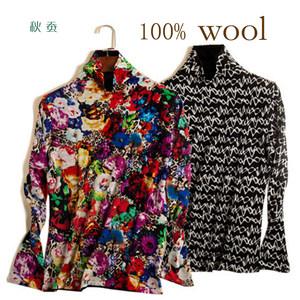 秋款 女士进口澳洲超细羊毛<span class=H>打底衫</span> 印花高领针织长袖 两面可穿