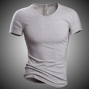 European fashion men v-neck <span class=H>t</span>-shir<span class=H>t</span>s <span class=H>with</span> shor<span class=H>t</span> sleeves男<span class=H>T</span>恤