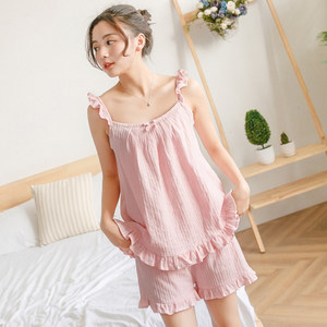 棉籽壳甜美可爱纯棉睡衣女士夏季薄款吊带短裤两件套装韩版家居服