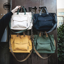 Inclined shoulder bag men's canvas bag handbag Japanese ins large capacity thick student women's leisure trendy canvas bag