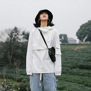春季潮牌机能连帽套头冲锋衣女中性bf宽松显瘦学生嘻哈风运动外套