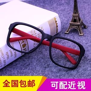磨砂大粗边黑色复古无镜片方形<span class=H>眼镜</span>框 <span class=H>眼镜</span>架 男女适用搭配装饰