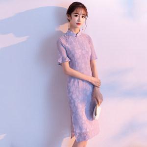 年轻款少女<span class=H>旗袍</span>春夏2019新款改良版新式中长款蕾丝短袖日常蕾丝裙