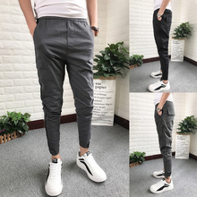 2018 New Social Boys Boys'Boys' Trousers Pure-color Slim Casual Pants Small-footed Fast-handed Net Red Trousers Men