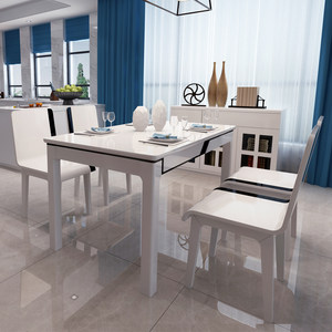 简约现代餐桌小户型长方形实木钢化玻璃白色烤漆餐桌椅子6人组合