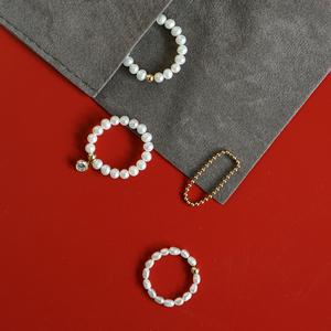 天然淡水mini<span class=H>珍珠</span>戒指|VISHI未时美国进口14k包金尾戒女精致礼物