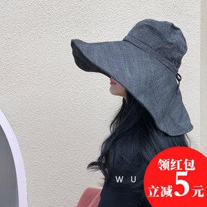网红渔夫帽大沿韩版日系潮百搭帽子女士春秋出游遮阳夏防晒紫外线