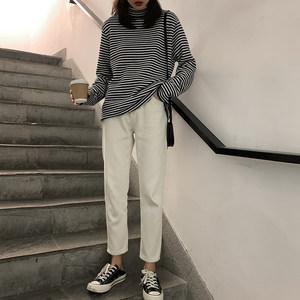 四喜家 白色加绒加厚<span class=H>牛仔裤</span>女/2018冬季新款高腰百搭直筒裤九分裤