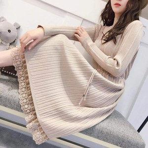 【爆抢】新款秋冬针织高领蕾丝连衣裙