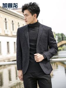男士秋季商务休闲<span class=H>西服</span>气质修身上衣帅气毛呢小西装单件外套男正装