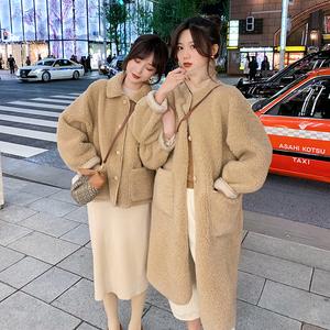 于momo重磅款2018冬装新款羊剪绒网红毛毛外套长短款小翻领皮草女