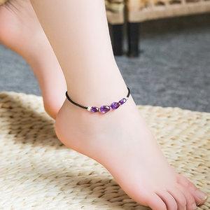 天然紫<span class=H>水晶</span><span class=H>脚链</span>女纯银韩版简约个性森系性感夏季百搭气质脚踝链
