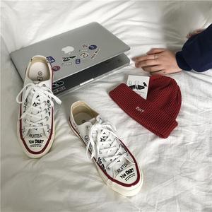 小黄桃韩国ulzzang<span class=H>帆布鞋</span>ins港味小众学生运动涂鸦鞋休闲小白鞋女