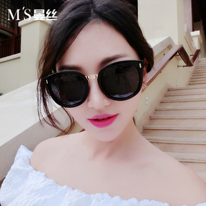 曼丝新款<span class=H>墨镜</span>女潮2018韩国个性偏光太阳镜圆脸明星款2018长脸眼镜