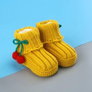 冬鞋子新生儿春秋百搭家庭编制婴儿毛线鞋子个性<span class=H>成品</span>长筒袜小女孩