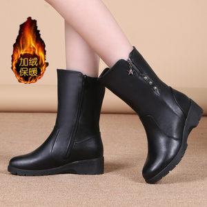 2018秋冬新款<span class=H>女</span>靴坡跟中筒<span class=H>靴子</span>棉靴平底短靴<span class=H>女</span>皮靴保暖马丁雪地靴