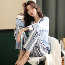 Pyjamas Female Cotton Long Sleeve Korean Edition Student Lovely Spring and Autumn Home Clothes Winter New Quarterly Clothes Can be Weared Outside