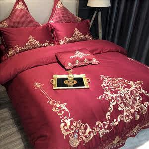 欧式结婚庆红色60长绒棉全棉四件套宫廷风金线刺绣花边新婚房床品