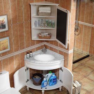 欧式橡木<span class=H>浴室柜</span>三角实木落地柜转角柜洗漱台洗脸盆美式pvc小户型