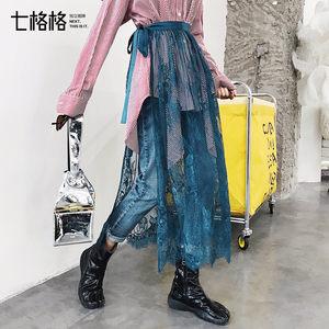 七格格一片式半身裙秋装<span class=H>女士</span>2018新款中长款裙子蕾丝半裙纱裙夏季