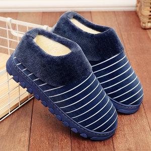 冬季棉<span class=H>拖鞋</span>男士全包跟厚底居家室内防滑加绒保暖带后跟毛棉鞋冬天