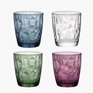 意大利进口玻璃杯子<span class=H>水晶</span>钻石茶杯 家用饮料果汁杯彩色喝水杯套装