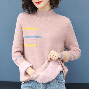<span class=H>毛衣</span>女2018新款秋冬毛绒一体加厚短款宽松套头保暖打底针织衫上衣