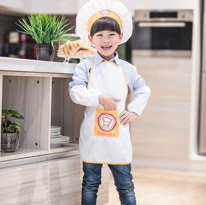 幼儿园儿童节目活动纯白<span class=H>围裙</span>带<span class=H>袖套</span>帽子小孩家居厨师服帽logo定制