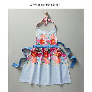 Anthropologie 优雅彩色花朵印花系带<span class=H>围裙</span> 美国进口家用防污罩衣