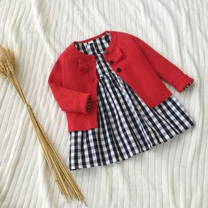 春装童装女童小披肩外套针织短款宝宝小外套长袖婴儿开衫纯棉线