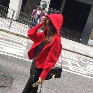 秋冬新款韩国ulzzang网红同款带帽子<span class=H>毛衣</span>外套女短款针织开衫
