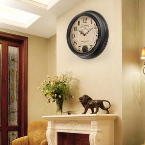 美式鄉村復古鐘表創意<span class=H>掛鐘</span>個性時尚掛表客廳家用現代裝飾石英時鐘