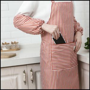 【特惠】<span class=H>围裙</span>套装家用厨房防水防油韩版女简约条纹工作服含<span class=H>袖套</span>