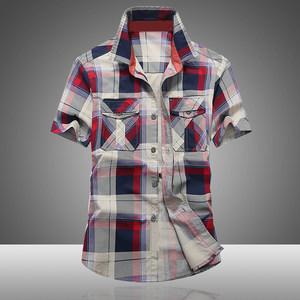 吉普鸟男士夏季格子衫短袖青年宽松大码<span class=H>衬衫</span>薄款纯棉青年村衫男潮