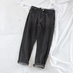 烟灰色直筒无弹<span class=H>牛仔裤</span> 欧美复古chic街拍款宽松高腰裤九分裤女