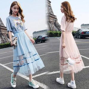2019夏季新款韩版短袖两件套印花连衣裙时尚名媛套装裙修身<span class=H>长裙</span>女