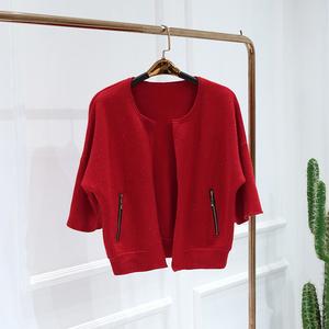 五期●新款外套2018冬装品牌折扣女装D8-1457气质短款针织<span class=H>开衫</span>潮