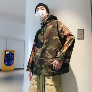 hiphop外套男bf风连帽宽松春秋夹克男嘻哈国潮迷彩LES帅T套头帽衫