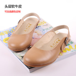 驼色牛皮包头复古<span class=H>凉鞋</span>春季休闲鞋圆头平底日系森女平跟牛筋底女鞋