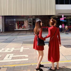 2019春装新款女装裙子 韩版修身半高领长袖打底针织连衣裙女秋冬
